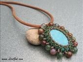 Turquoise Beaded Cabochon Pendant