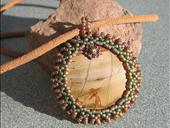 Picasso Jasper Beaded Cabochon Beaded Pendant