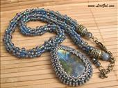 Labradorite Pendant. Beaded Crocheted Necklace