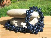Royal Blue.Beaded Crocheted Necklace.