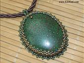 Green Coral Fossil Beaded Cabochon Pendant